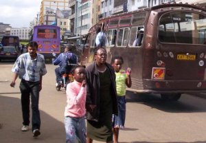 Commuters look for buses in Nairobi\'s Tom Mboya street.