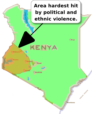 Map of Kenya showing the western parts of the country affected by political and ethnic violence in 2008. This was after disputed elections in December 2007.