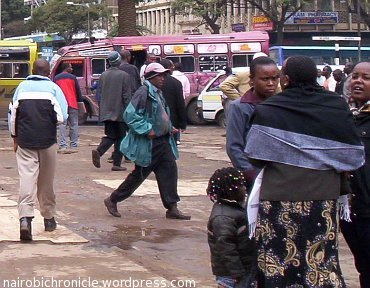 Nairobi residents in winter clothing