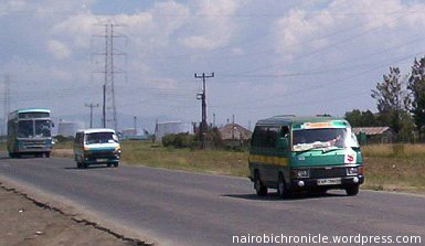 Public service vehicles on a Kenyan highway