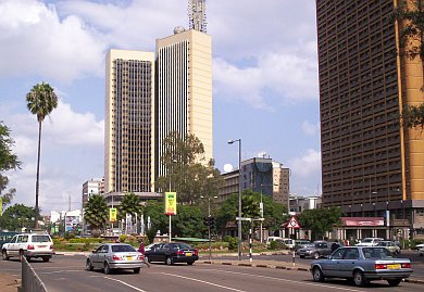 The intersection of Kenyatta Avenue and Uhuru Highway.