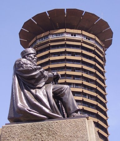 Statue of Kenya's first president, Mzee Jomo Kenyatta, taken as sunny skies return to Nairobi.