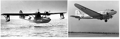 A Catalina Flying boat (left) and C-47 Skytrain (right). Photos by Wikipedia.