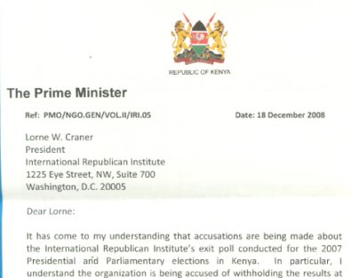 Raila's letter to IRI re-affirming ODM's co-operation with the International Republican Institute.