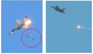 Israeli F-16 fighter jets in action over Gaza.