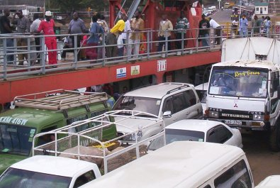 Passengers and vehicles in one of the Likoni ferries. Picture by the Nairobi Chronicle.
