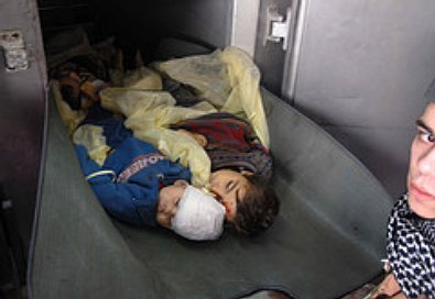 Dead Palestinian children in a Gaza mortuary.