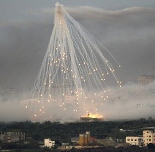 Chemical weapons dropped by Israeli airforce in Gaza. Picture by Indymedia