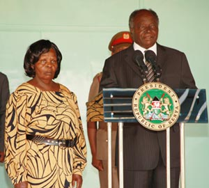 President Mwai Kibaki and First lady Lucy at the press briefing where Kibaki denied having other wives.