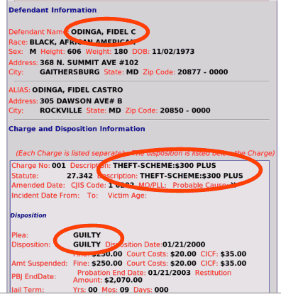 Document showing that Fidel Castro Odinga was charged and found guilty of theft.