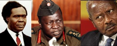 Ugandan presidents. From left to right: Milton Obote, Idi Amin Dada and Yoweri Museveni.