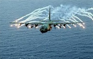 A US Airforce AC-130 gunship. The US has used this aircraft in its military intervention in Somalia. The AC-130 is an attack version of the popular C-130 transport aircraft.