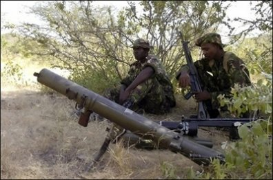 Kenya Army soldiers manning a mortar during field operations.