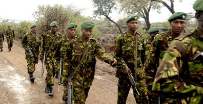 Kenya Army soldiers marching during a field exercise.
