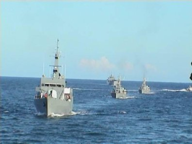 Kenya Navy vessels in the high seas.