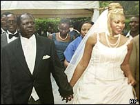 Former VP Michael Wamalwa (left) with his bride, Yvonne, during their 2003 wedding.