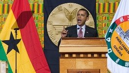 US President Barack Obama addressing the Ghana Parliament.