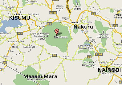 Map showing the location of the Mau Forest complex in the Republic of Kenya. Map by Google Maps.