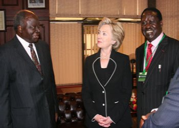 President Mwai Kibaki and Prime Minister Raila Odinga with Hillary Clinton in Nairobi.