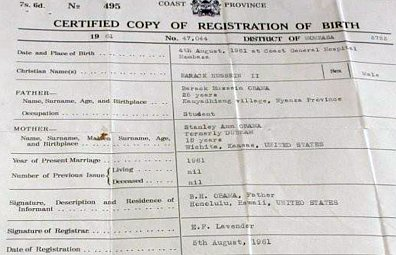 A copy of what is claimed to be a Kenyan birth certificate showing President Barack Obama was born in Kenya.
