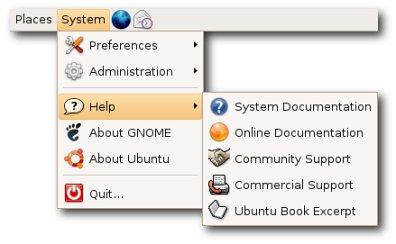 An Ubuntu Linux help menu.